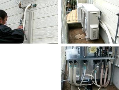 エコキュートの給水給湯配管、風呂配管、ヒートポンプ配管の保温工事、排水配管工事。