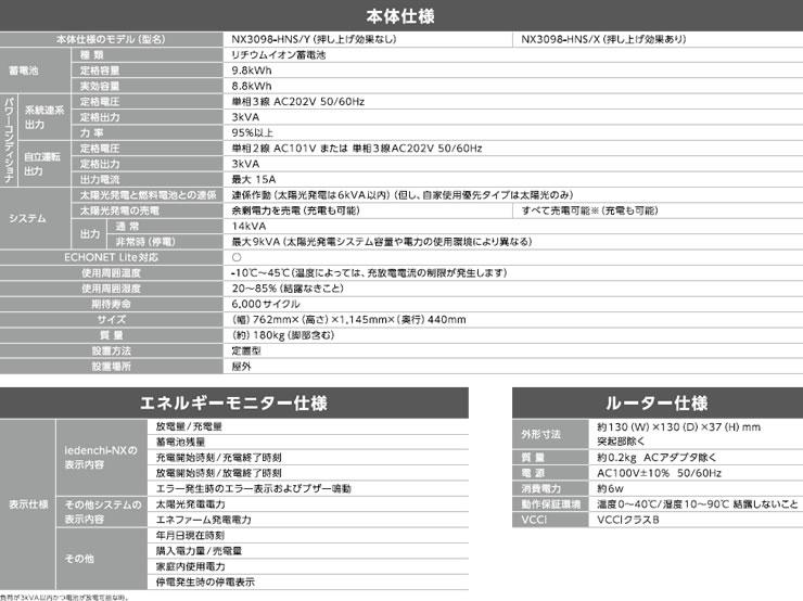 ネクストエナジー iedenchi-NX 全負荷タイプ 9.8kWh