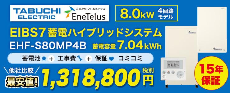 田淵電機 EIBS7 蓄電ハイブリッドシステム 8.0kW 3回路モデル 7.04kWh