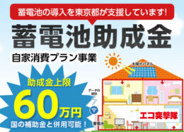 蓄電池の導入を東京都が支援しています!蓄電池助成金(自家消費プラン事業)